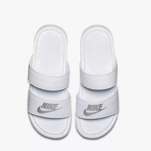 Women's Nike Benassi Duo Ultra White Slide Sandals